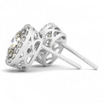 Oval-shape Diamond Halo Stud Earrings 18k White Gold (1.20ct)