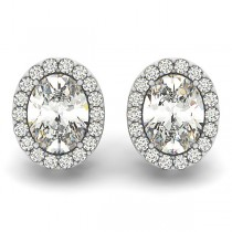 Oval-shape Diamond Halo Stud Earrings 14k White Gold (1.80ct)