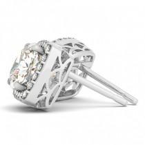 Cushion-cut Diamond Halo Stud Earrings 18k White Gold (1.00ct)