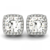 Cushion-cut Diamond Halo Stud Earrings 14k White Gold (2.00ct)