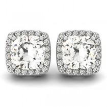 Cushion-cut Diamond Halo Stud Earrings 14k White Gold (2.00ct)