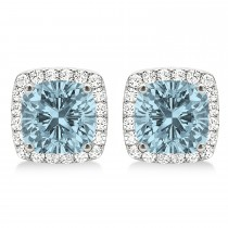 Cushion Cut Aquamarine & Diamond Halo Earrings 14k White Gold (1.50ct)