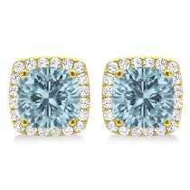 Cushion Cut Aquamarine & Diamond Halo Earrings 14k Yellow Gold (1.50ct)
