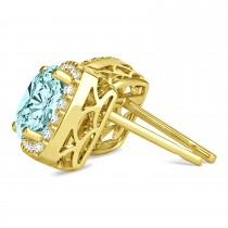 Cushion Cut Aquamarine & Diamond Halo Earrings 14k Yellow Gold (1.50ct)