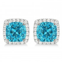Cushion Cut Blue & White Diamond Halo Earrings 14k White Gold (1.22ct)