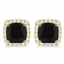 Cushion Cut Black & White Diamond Halo Earrings 14k Yellow Gold (1.22ct)