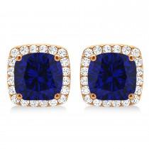 Cushion Cut Blue Sapphire & Diamond Halo Earrings 14k Rose Gold (1.50ct)