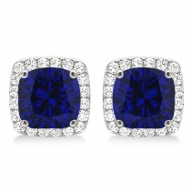 Cushion Cut Blue Sapphire & Diamond Halo Earrings 14k White Gold (1.50ct)