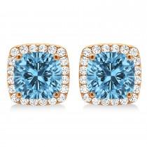 Cushion Cut Blue Topaz & Diamond Halo Earrings 14k Rose Gold (1.50ct)