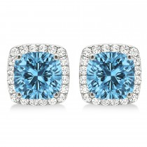 Cushion Cut Blue Topaz & Diamond Halo Earrings 14k White Gold (1.50ct)