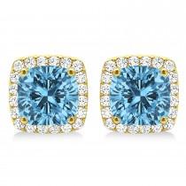 Cushion Cut Blue Topaz & Diamond Halo Earrings 14k Yellow Gold (1.50ct)