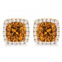 Cushion Cut Citrine & Diamond Halo Earrings 14k Rose Gold (1.50ct)