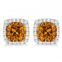 Cushion Cut Citrine & Diamond Halo Earrings 14k White Gold (1.50ct)