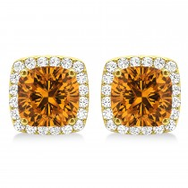 Cushion Cut Citrine & Diamond Halo Earrings 14k Yellow Gold (1.50ct)