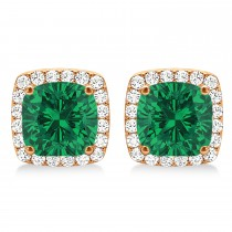 Cushion Cut Emerald & Diamond Halo Earrings 14k Rose Gold (1.50ct)
