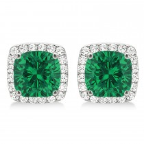 Cushion Cut Emerald & Diamond Halo Earrings 14k White Gold (1.50ct)