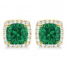 Cushion Cut Emerald & Diamond Halo Earrings 14k Yellow Gold (1.50ct)