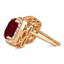 Cushion Cut Garnet & Diamond Halo Earrings 14k Rose Gold (1.50ct)