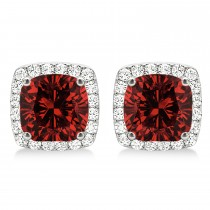 Cushion Cut Garnet & Diamond Halo Earrings 14k White Gold (1.50ct)
