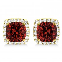Cushion Cut Garnet & Diamond Halo Earrings 14k Yellow Gold (1.50ct)