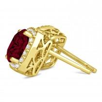 Cushion Cut Garnet & Diamond Halo Earrings 14k Yellow Gold (1.50ct)