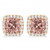 Cushion Cut Morganite & Diamond Halo Earrings 14k Rose Gold (1.50ct)