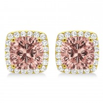 Cushion Cut Morganite & Diamond Halo Earrings 14k Yellow Gold (1.50ct)