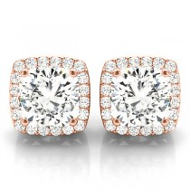 Cushion Cut Moissanite & Diamond Halo Earrings 14k Rose Gold (1.22ct)