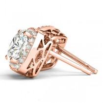 Cushion Cut Moissanite & Diamond Halo Earrings 14k Rose Gold (1.22ct)