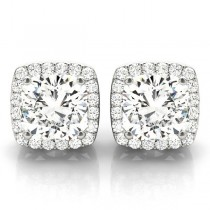 Cushion Cut Moissanite & Diamond Halo Earrings 14k White Gold (1.22ct)