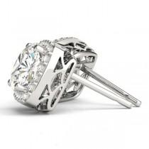 Cushion Cut Moissanite & Diamond Halo Earrings 14k White Gold (1.22ct)|escape