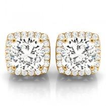 Cushion Cut Moissanite & Diamond Halo Earrings 14k Yellow Gold (1.22ct)