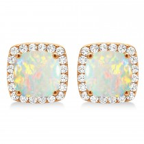 Cushion Cut Opal & Diamond Halo Earrings 14k Rose Gold (1.30ct)
