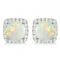 Cushion Cut Opal & Diamond Halo Earrings 14k White Gold (1.30ct)