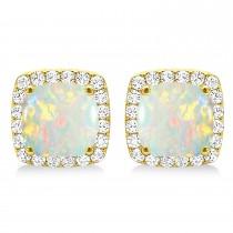 Cushion Cut Opal & Diamond Halo Earrings 14k Yellow Gold (1.30ct)