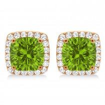 Cushion Cut Peridot & Diamond Halo Earrings 14k Rose Gold (1.50ct)