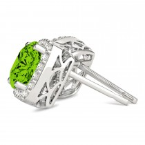 Cushion Cut Peridot & Diamond Halo Earrings 14k White Gold (1.50ct)|escape