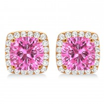 Cushion Cut Pink Sapphire & Diamond Halo Earrings 14k Rose Gold (1.50ct)