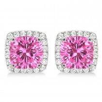 Cushion Cut Pink Sapphire & Diamond Halo Earrings 14k White Gold (1.50ct)