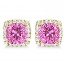 Cushion Cut Pink Sapphire & Diamond Halo Earrings 14k Yellow Gold (1.50ct)