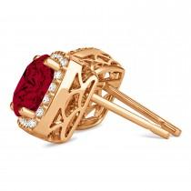 Cushion Cut Ruby & Diamond Halo Earrings 14k Rose Gold (1.50ct)