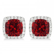 Cushion Cut Ruby & Diamond Halo Earrings 14k White Gold (1.50ct)