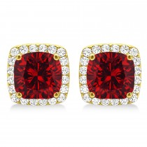 Cushion Cut Ruby & Diamond Halo Earrings 14k Yellow Gold (1.50ct)