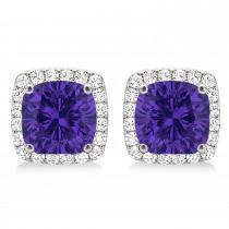 Cushion Cut Tanzanite & Diamond Halo Earrings 14k White Gold (1.50ct)
