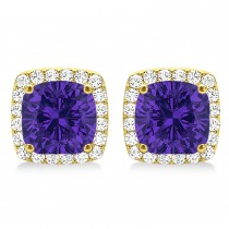 Cushion Cut Tanzanite & Diamond Halo Earrings 14k Yellow Gold (1.50ct)