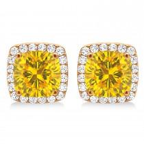 Cushion Cut Yellow Sapphire & Diamond Halo Earrings 14k Rose Gold (1.50ct)