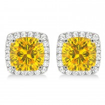 Cushion Cut Yellow Sapphire & Diamond Halo Earrings 14k White Gold (1.50ct)