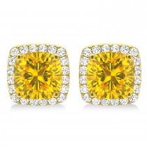 Cushion Cut Yellow Sapphire & Diamond Halo Earrings 14k Yellow Gold (1.50ct)