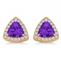 Trilliant Cut Amethyst & Diamond Halo Earrings 14k Rose Gold (0.93ct)