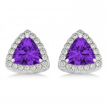 Trilliant Cut Amethyst & Diamond Halo Earrings 14k White Gold (0.93ct)
